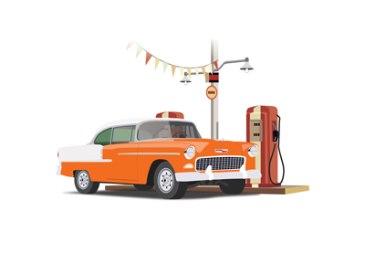 '55 Chevy Belair drawing throwback classic web illustration 1950s vintage retro belair chevy refuel station gas car vector classic car illustration