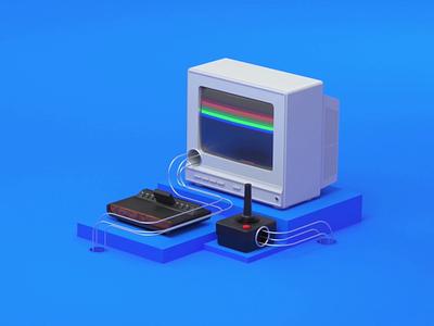 Google - Atari google design minimalist c4d playfull motiondesigner motiondesign cinema4d 3d computer atari google