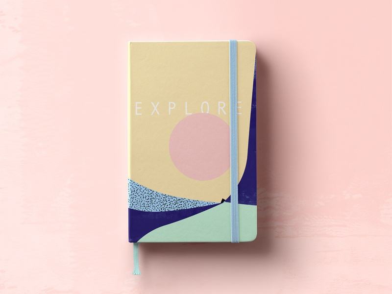 Cover for travel diary about explore amazing New Zealand! zeland new colors minimalistic illustration cover diary