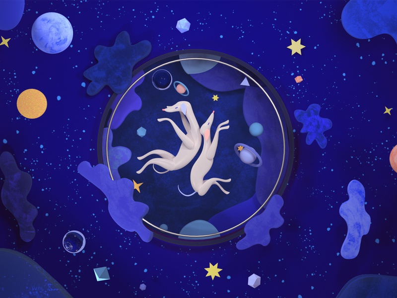 Dogs lost in the space characterdesigner dogs animation motion graphic motion design 3dcharacter 3d artist minimalist cover colors illustration