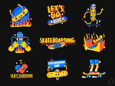 WORLD SKATEBOARDING DAY ipadpro sketch shred skateboarding skateboard sk8 branding design logo apple pencil illustration procreate snapchat
