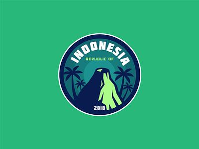 INDONESIA green rice palms palm forest bali yogakarta jakarta badge volcano asia indonesia