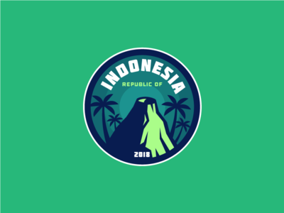 INDONESIA green rice palms palm forest bali yogakarta jakarta badge volcano asia indonesia