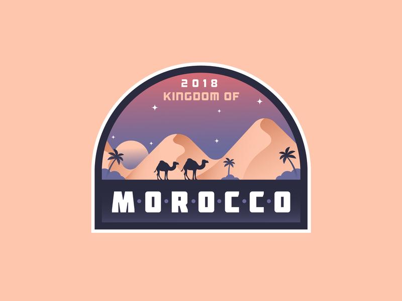 MOROCCO BADGE patch sand marrakech night dune camels camel desert marocco morocco illustration badge