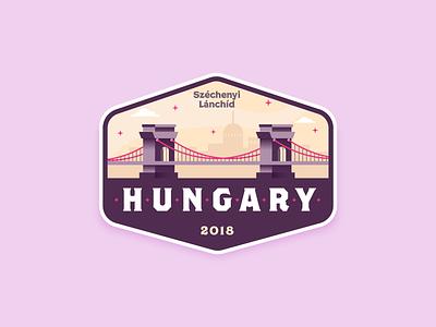 HUNGARY BADGE 2018 skyline river hungarian bridge badge design badge budapest hungary