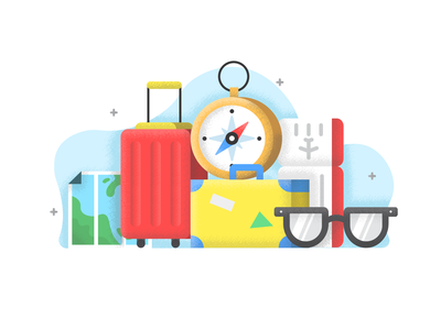 TIME TO TRAVEL 2 baggage sketch sunnies map compass ticket plane travel suitcase bold