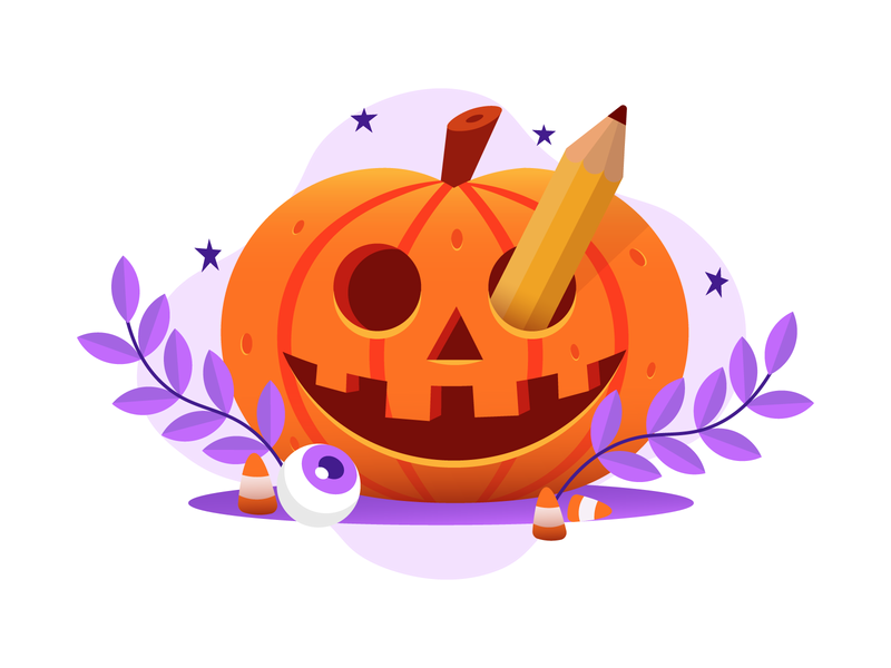 HAPPY HALLOWEEN DESIGNERS eye pencil leaf bold plants pumpkin scary october halloween spook spooky