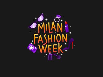 Milan Fashion Week typografy typo handwrite procreate art procreate ring glasses heels fashion week milano milan fashion