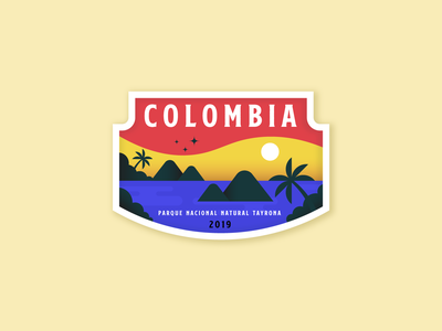 COLOMBIA beach smooth patch badge park palm latino america colombia