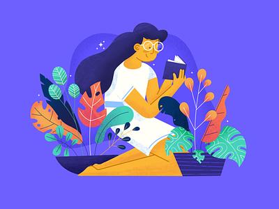 Greenery girl forest skirt character girl google glasses monstera reading book illustration procreate dribbble plants