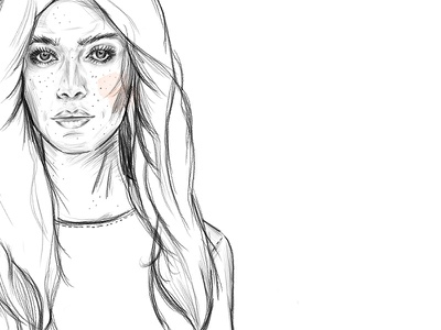 naturalistic illustration pencil digital accents aquarell thinlines woman