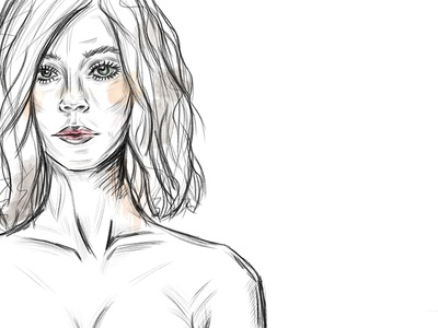 naturalistic woman II accents aquarell woman artwork pencil digital naturalistic