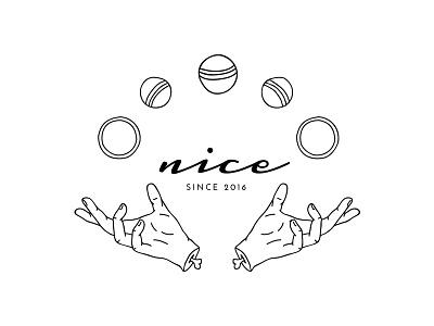 logo design hands convention juggling white and black illustration line vector