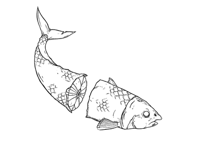 Fortune Fish under water black and white animal thin lines illustration fish