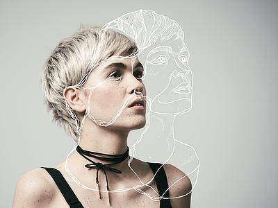 portrait of a woman hairdresser hairartist photomeetsillustration fairy dotwork soul face woman artwork digital illustration line