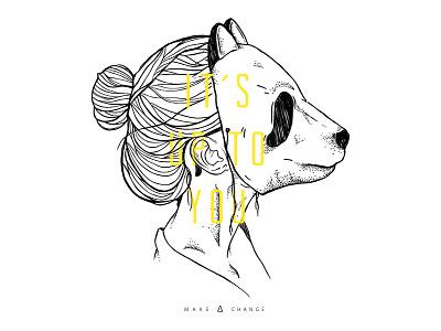 It´s up to you human animal points dots artwork digital lines black girl mask panda illustration