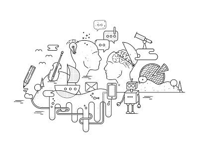 Travelculture Rebound dialog technology music heads boat traveling robot illustration line