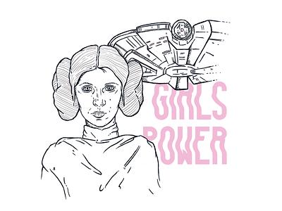 Princess Leia typography ink power girls comiccon starwars leia