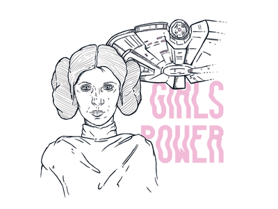 Princess Leia typography ink power girls comiccon starwars leia