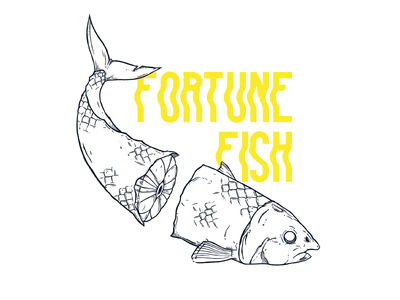 fortune fish animals ink typo illustration fish