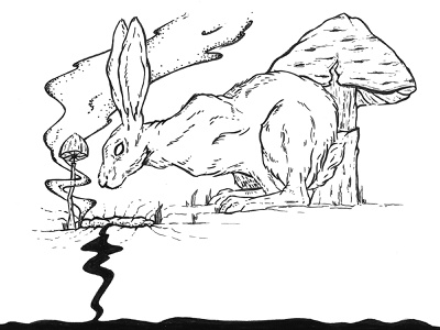 Rabbit - Alice in Wonderland mushroom mushrooms hase artwork exhibition blackandwhite illustration ink rabbithole alice aliceinwonderland rabbit