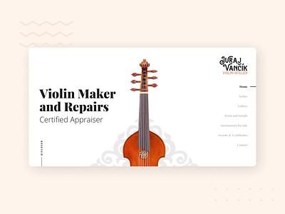 Vancik Violin - website 1 elegant luxury brown clean repair maker violin hero design webdesign web website ux ui
