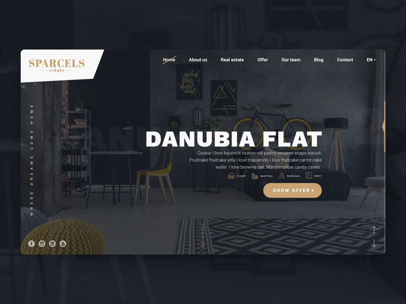 Sparcle Estate - Hero website ui ux website webdesign homepage web design estate dark hero clean flat
