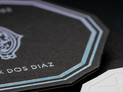 Die Cutting + Embossing + Duplexing + Holographic Foil Stamping business cards business card print peppermint die cut foil stamping printmaking branding paper duplex embossing print design foil print