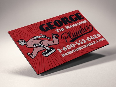 Magnetic Business Card old school plumber vintage retro business card magentic