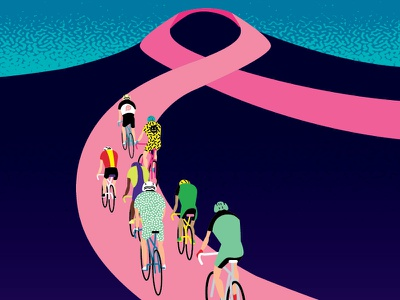 Race For The Cure illustration bicycle flat breast cancer cancer bikes cycling race wip