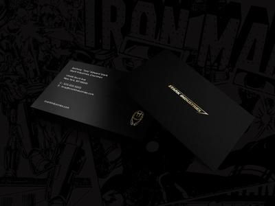 Tony Stark Ironman Business Card black paper gold minimal design business card comics comic book marvel tony stark ironman stark industries