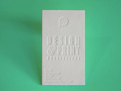 50pt Cotton Blind Deboss white on white clean design business cards letterpress blind deboss