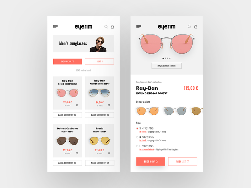 Eyerim e-shop mobile redesign interactive minimal clean ui living coral ecommerce mobile app mobile ui mobile eshop glasses