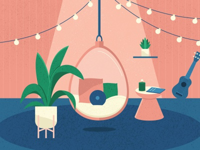 Isolated Paradise color pink illustrator design 2d art creative drawing chair illustration comfort comfy home relaxation relax string lights plants ukelele hanging chair isolation
