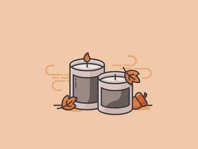 Fall Candles vector illustration lineart monoline iconography icon autumn acorn leaves fall candles