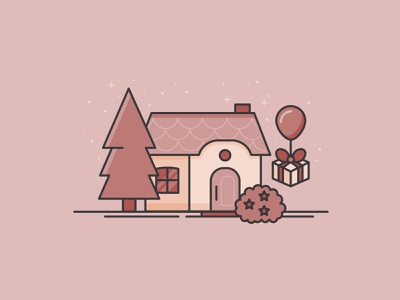 Marina's House cute minimal iconography icon 2d sparkle tom nook balloon gift mauve pink illustration house new horizons animal crossing new horizons acnh marina animal crossing