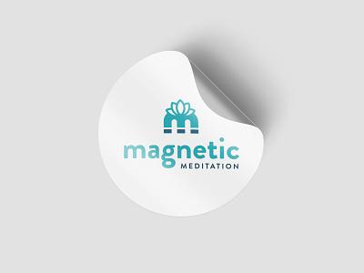 Magnetic Meditation Logo lotus lotus flower flat vector magnet brand branding design branding youtube meditation logo magnetic