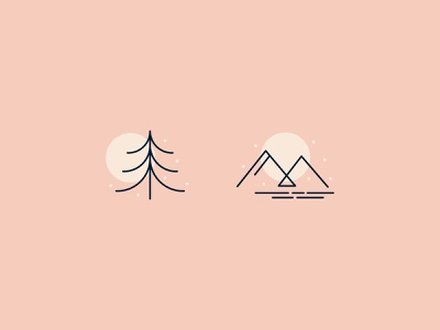 Winter Scene | Day 2 monoline nature december day and night iconography icon design simple minimalistic minimalist abstract shapes mountain tree nature-y nature icons winter icons winter scene