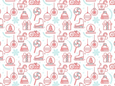 Holiday Pattern | Day 9 minimalist illustration monoline lolipop tinsel candy cane hot cocoa yule log ice skate christmas tree present snowflake winter holiday season christmas iconography icons icon pattern holly jolly design challenge
