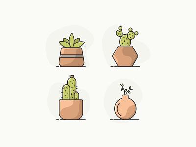 Succulents cute color grow icons cactus monoline minimal iconography illustration plants succulent