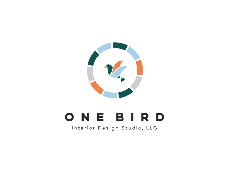 Logo Option 1 - One Bird Interior Design Studio, LLC interior design branding ceramic bricks bird variation logo option logo