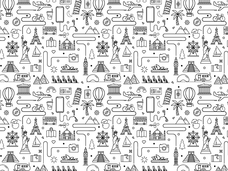 Travel Icon Pattern landmarks adventure travel icons icons travel icon pattern iconography