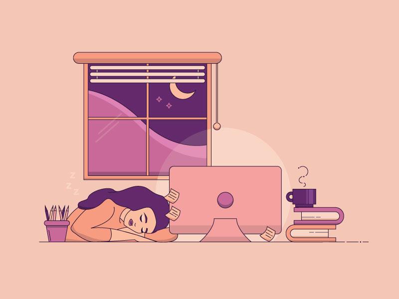 Exhausted girl sleeping sleeping at desk desk workspace tired sleep inktober 2018 inktober exhausted