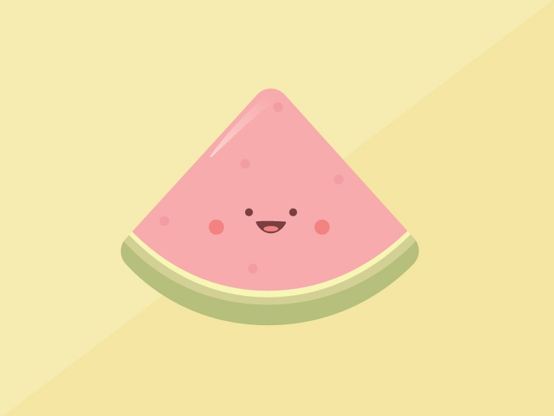 Smiling Watermelon cartoon icon illustration simple design character cute simple shapes minimal happy summer food icons food fruit smiling fruit smiling watermelon watermelon