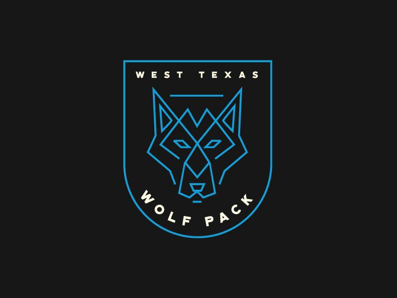 West Texas Wolfpack Logo abstract shapes line minimal logodesign logo identity illustration branding design icon design iconography icon modern dog monoline blue badge wolf wolf logo