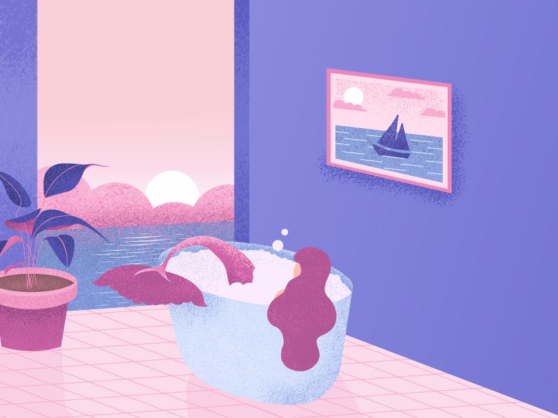Home away from home daily color sea minimal drawing flat 2d design girl home plant illustration retrosupply relax bathroom bathtub bath ocean texture mermaid