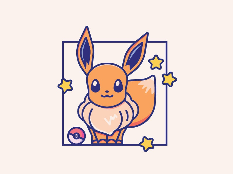 Eevee - 10/30 videogame iconography icon chapes creative color animal cartoon characterdesign minimal 2d fan art character illustration pokemon go pokemon eevee