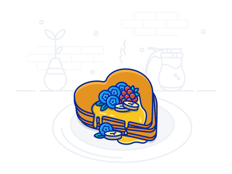 Pancake Love - 15/30 daily shapes heart brunch breakfast food iconography icon 2d flat vecor design banana blueberries fruit pancakes