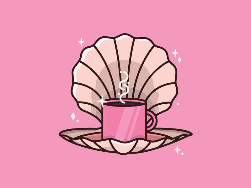 Morning Treasure - 16/30 2d flat creative shiny pearl shell treasure color design illustration pink coffee