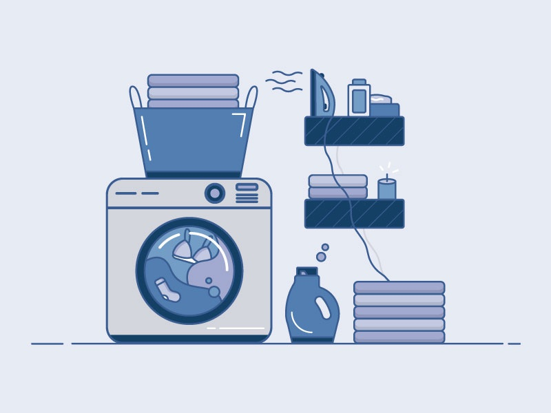 Laundry Day - 18/30 home fresh clean daily flatdesign purple iconography icons flat 2d illustration chores clothes washing machine laundry